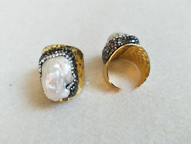 10pcs Gold color Natural jewelry Pearl rings,Titanium Stone, Pave Crystal Rhinestone Jewelry Finger Druzy Ring R10