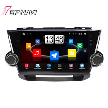 """Free Shipping 10.1"""" Quad Core Android 4.4 Car PC GPS For TOYOTA Highlander 2009 2010 2011 With Stereo Audio Map Without DVD"""