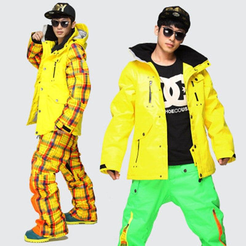 2018 Hommes Ensemble de Ski En Plein Air Thermique Coupe-Vent Imperméable Snowboard Vestes + Pantalon ensemble de vêtements de Ski de Neige D'hiver Ski Costume Masculin