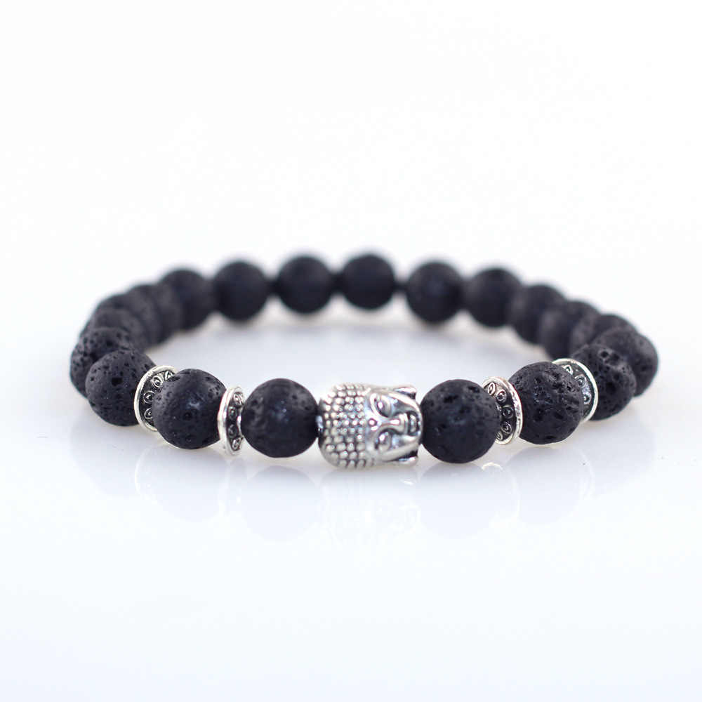 Buddha Head Beads Energy Volcanic Stone Bracelet Simple Women Bracelet Female Bracelet Fashion Pulsera De Mujer Yoga Bracelet