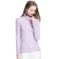 Autumn Winter Vintage Women Sweater Lotus Leaf Design Long Sleeves Elastic Turtleneck Knitted Pullover Warm Sweaters