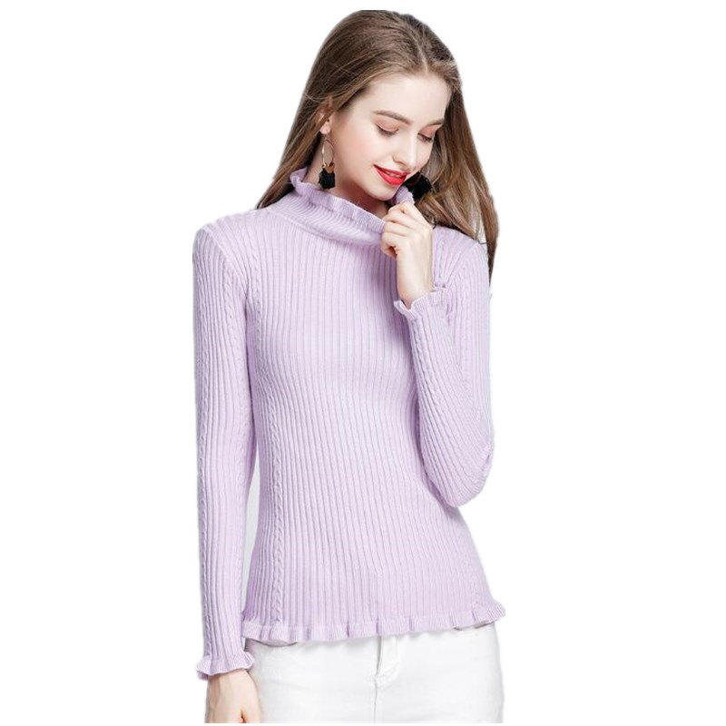 Autumn Winter Vintage Women Sweater Lotus Leaf Design Long sleeves Elastic Turtleneck Knitted Pullover Warm Sweaters 10 colors