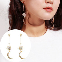 Moon Earrings New Gold Color Diamonds for Women Stylish and Simplicity Long Fringed Pendant Earring
