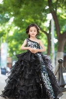 100%real children girl black sequined flower full ruffled ball gown dress lolita pegeant queen/princess cos rococo