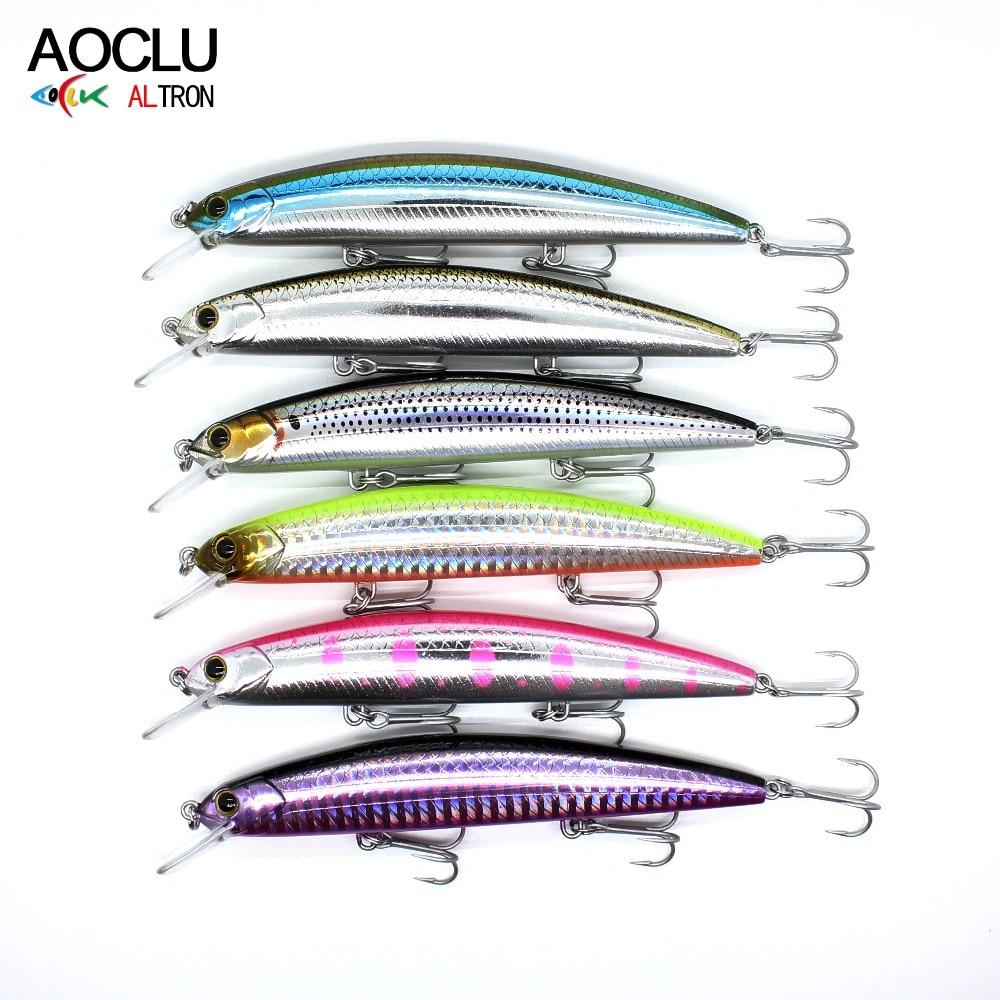 AOCLU 6pcs/lot Jerkbait Wobblers 6 Colors 11.5cm 16.9g Hard Bait Minnow With Magnet Inside For Long Distance Casting VMC Hooks