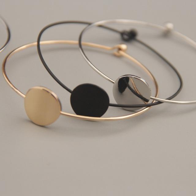 Costume bijoux top qualité métal pur cuivre laiton géométrie ronds carrée triangle bracelet