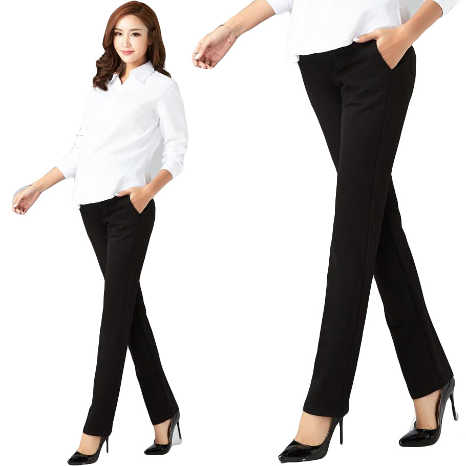 Plus Size Maternity Pants Pregnant Abdomen Office Bell-Bottom High Waist Solid Formal Straight Trousers Women's Office Pants plus size bell sleeve plunge tee