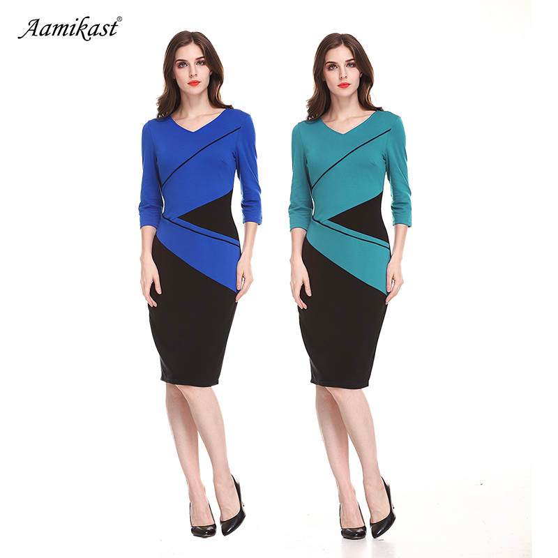 Bkolouuoe Womens Long Sleeve V Neck Dress Ladies Casual Fitted Front Fork Business Work Bodycon Pencil Dress