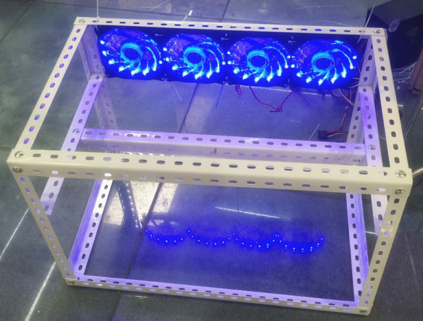 YUNHUI Mining industry sell The rack of Ethereum miner with four LED fans suitable for Ethereum miner 120M.Free shipping!!