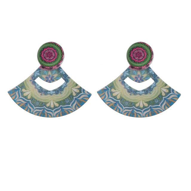 Мода Геометрические Веерообразных Серьги Южная Америка Бразилия Этнические Небольшие Деревянные Серьги Ювелирные Изделия 4 Цвета