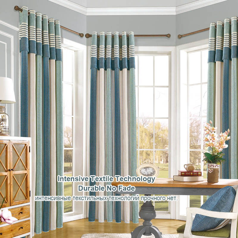 Window Curtain Living Room Modern Curtain Blackout Panel Drapes Chenille Room Curtain Cotton Roman Shades Striped Blinds Thick