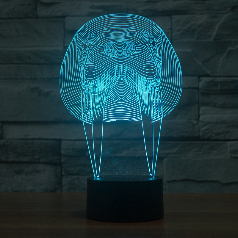 Creative Visual 3D Acrylic Walrus Modelling Night Lights Led Mammal Usb Table Lamp Baby Sleep Lights Fixture Bedside Decor Gifts yimia creative 4 colors remote control led night lights hourglass night light wall lamp chandelier lights children baby s gifts