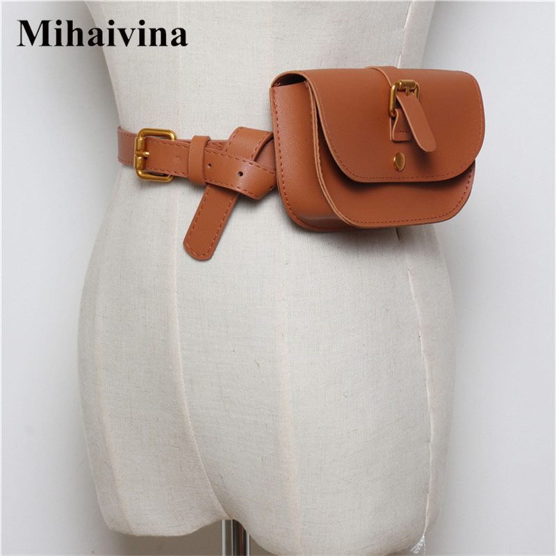 Mihaivina Simple Women Waist Bag Belt Fashion Luxury Fanny Pack Small Lady Waist Pack Phone Pouch Belt Bags Purse Bum Chest Bag belt bag women waist bag white waist fanny pack luxury brand leather chest handbag lady s belt bags 2018 shoulder bags purse