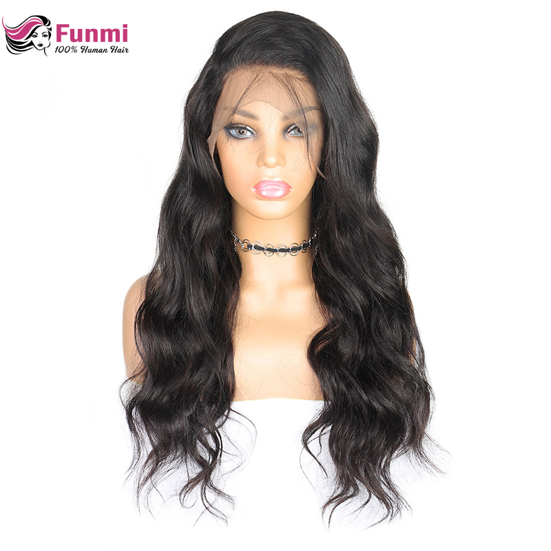 4X4 Body Wave Lace Front Human Hair Wigs Pre Plucked Hairline With Baby Hair Funmi Peruvian Remy Hair Lace Wigs Bleached Knots