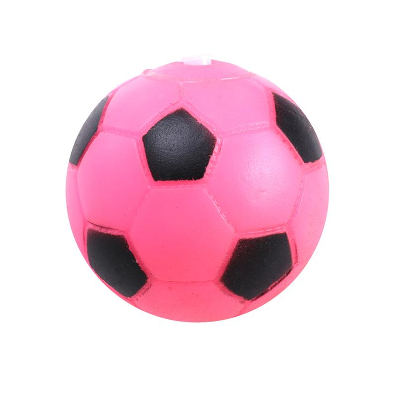 Baby Chew Toy Pink Football Bite-Resistance Strong Tooth Cleaning Vinyl Football Soccer kids Toys Biting Sound Squeaky Toys