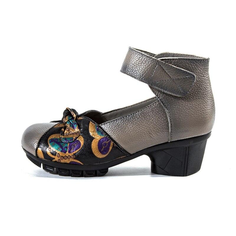 En Main Printemps Femme Confort slip Noir Casual rouge Cuir Rétro Haute À Impression Chaussures Ethnique Non La Style gris Talon 2019 Vache Nouveau Femmes AdwOYqY