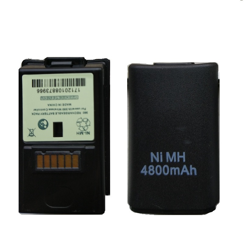 2Pcs 4800mAh Battery for Xbox 360 Rechargeable Batteries Ni-MH Wireless Controller Gamepad Replacment BLACK/WHITE Wholesale