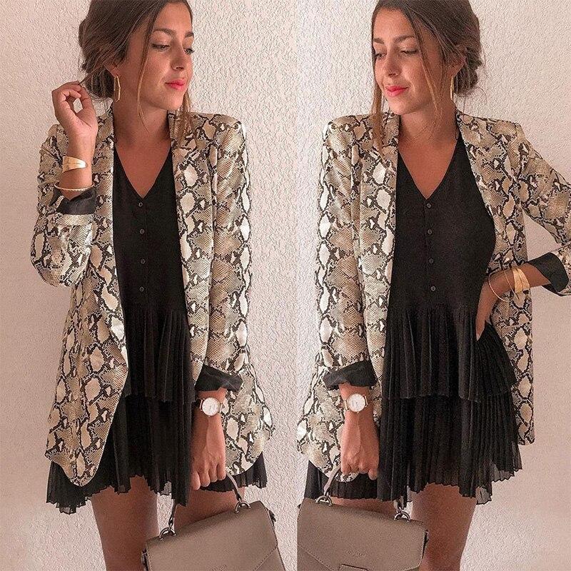 Women Blazer Snake Print Long Sleeve Suit Coat BikerJacket Outwear Tops Women's Snake Print Blazer women's suit top women(China)