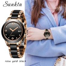 цены SUNKTA Rose Gold Watch Women Quartz Watches Ladies Top Brand Crystal Luxury Female Dress Wrist Watch Girl Clock Relogio Feminino
