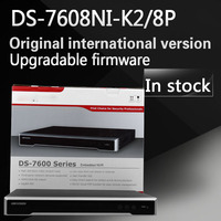 Free Shipping English Version DS 7608NI K2 8P 84CH 4K NVR 2SATA With 8POE Ports Embedded