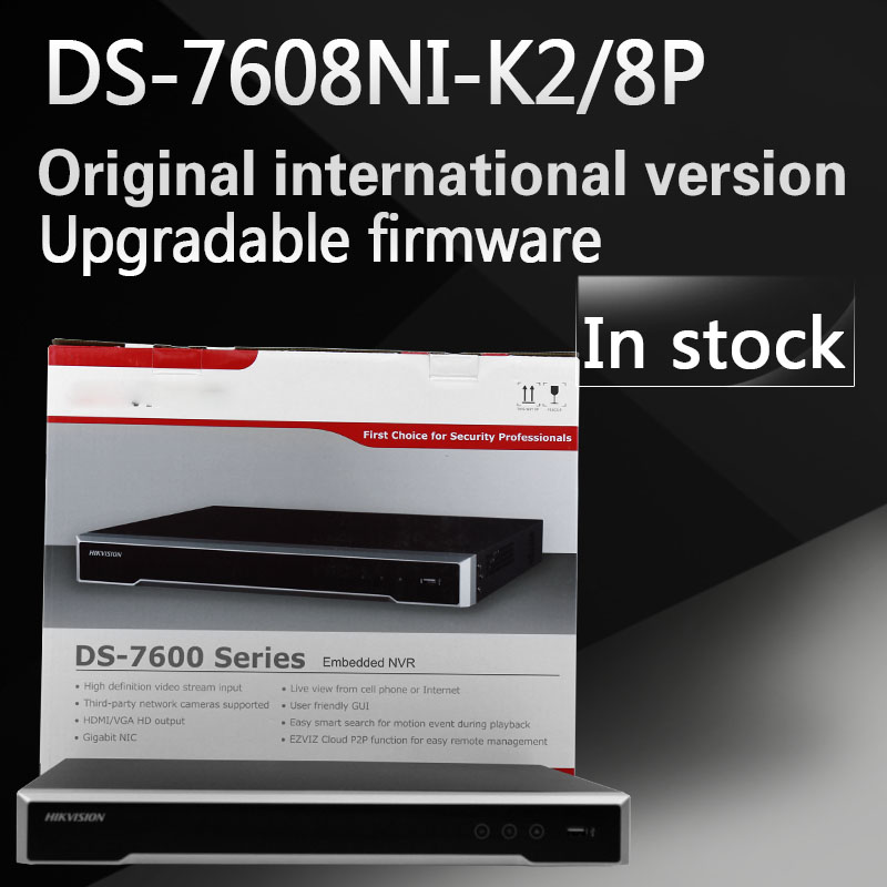 In stock Free shipping English version DS 7608NI K2 8P 8CH 4K NVR 2SATA with 8POE
