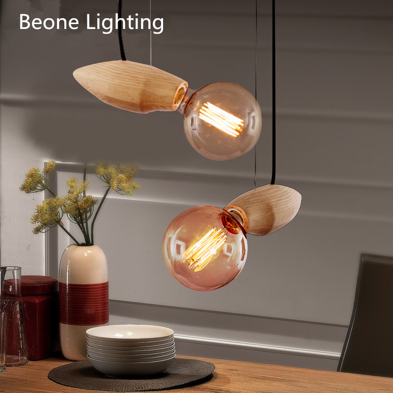 Modern Vintage Country E27 Edison bulb Original Wooden Pendant Light Pendant lamp Pendant Lighting