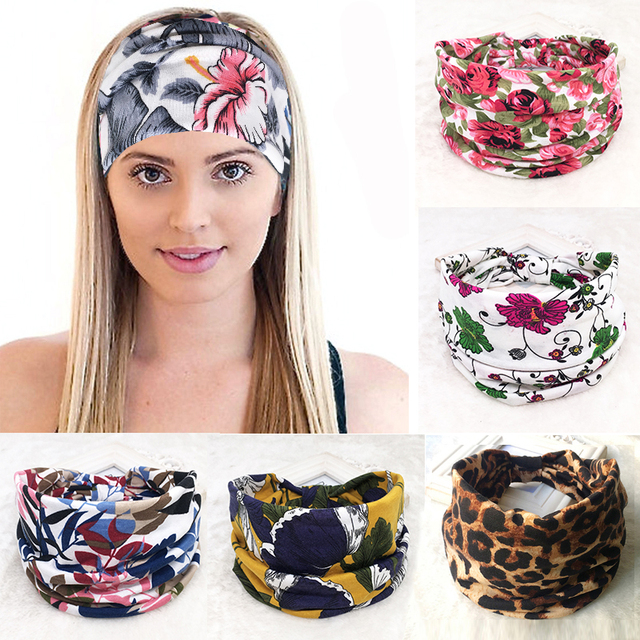 a33c5e55c95 Bohemia Floral Wide Cotton Stretch Women Headband Headpiece Hair  Accessories Turban Headwear Bandage Hair Bands Bandana
