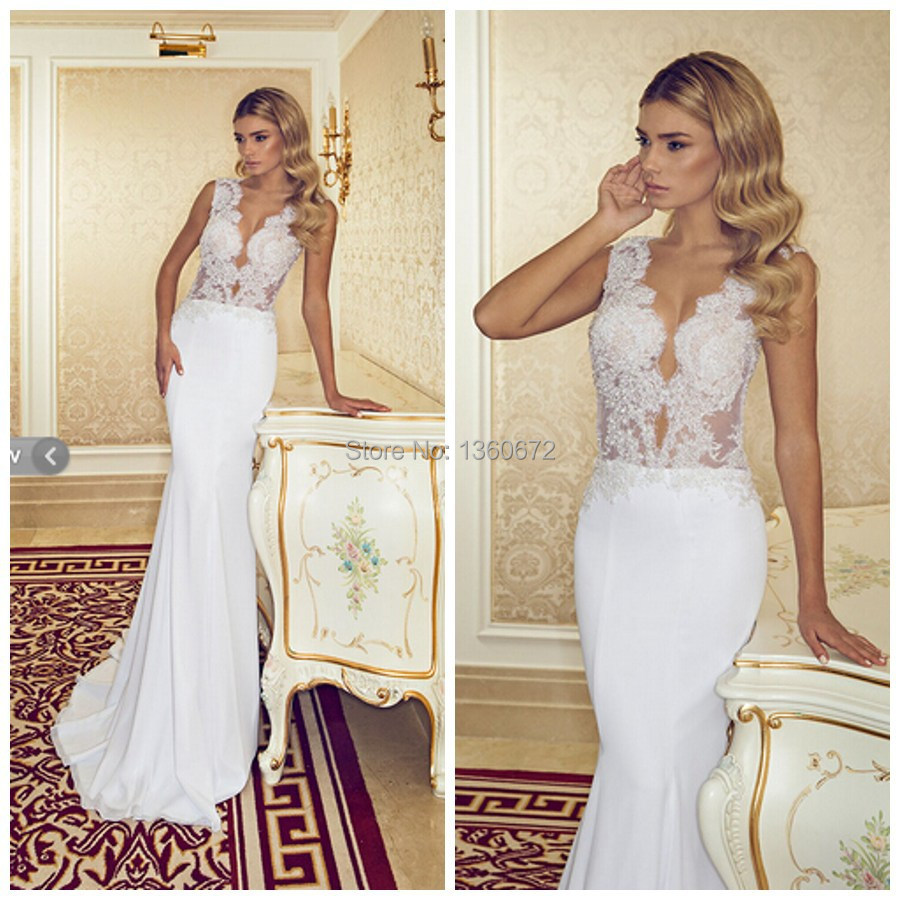 2015 summer sexy wedding dresses soft satin mermaid sleeveless v 2015 summer sexy wedding dresses soft satin mermaid sleeveless v neck low cut wedding gown 2014 new arrival noiva dress tb21 in wedding dresses from ombrellifo Choice Image