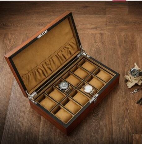 Boîte de montre en bois massif en bois de zèbre de luxe européen Bracelet présentoir de bijoux boîte de rangement pour la décoration intérieure MSBH011