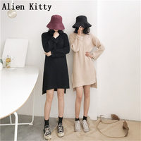 Alien Kitty 2018 Fashion Autumn Elegant Loose Free Sweater Dress High Quality Fork Solid Sexy Simple Fresh Casual Dress 2 Colors