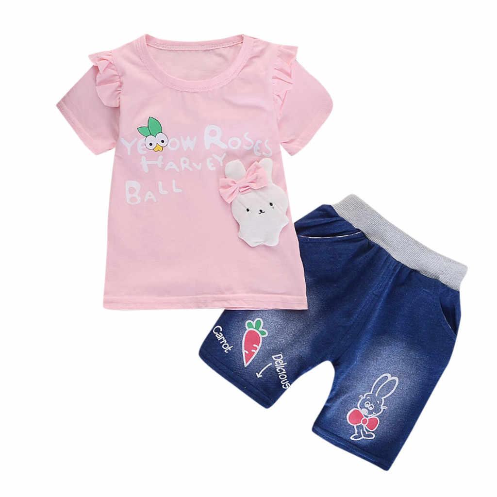 Коллекция 2019 года, комплекты для маленьких мальчиков летние топы с короткими рукавами и рисунком кролика для маленьких девочек + джинсовые шорты комплект из 2 предметов для маленьких мальчиков