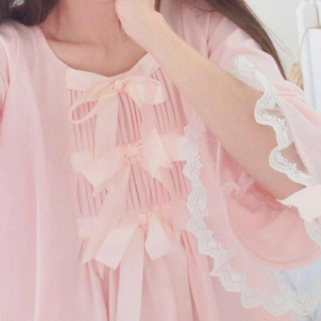 Japnaese Girl Kawaii Girls Lolita Silk Cotton Sakura Pink bowtie sleepwear Sleep Dress Gown Vintage Princess Bows Cute AW317