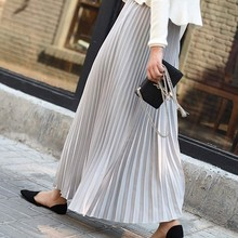 2019 Spring Women Long Skirts Fashion Womens Solid Pleated Elegant Midi Elastic Waist Maxi Skirt Faldas Mujer Saias Skirt Z044