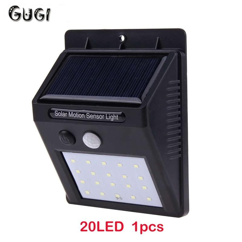 GUGI Solar Charger LED Solar Light Motion Sensor Outdoor Lighting 20LEDS Mini Solar Wall Lamp LED lights For Garden fence light md966 mini solar powered charger w 3 led lamp black