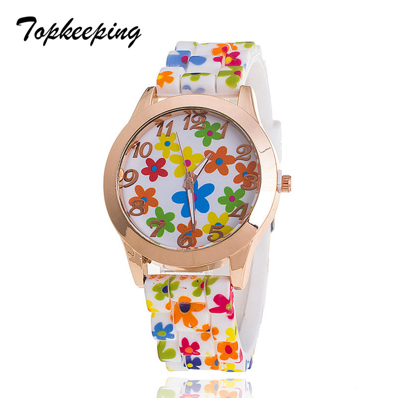Topkeeping Brand New Women Kellad Fashion Silicone Strap Girls Geneva - Naiste käekellad