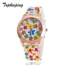 Topkeeping Brand New Women Watches Fashion Silicone Strap Girls Reloj de Ginebra Casual Ladies Printing Flowers Cuarzo Relojes de pulsera