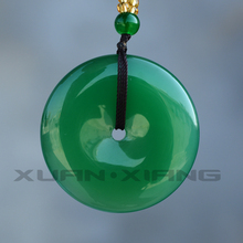 Drop Shipping Womens Agate Necklace Pendant Natural Green Chalcedony Circle Gift for Female Jade Jewelry Free Chain