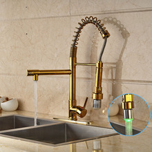 Gold Finished Deck Mounted Kitchen Sink Faucet Single Handle LED Spout Mixer Tap with Cover Plate