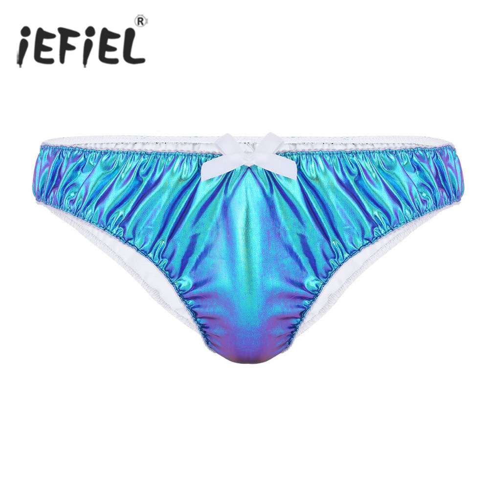 Buy iEFiEL Sexy Gay Mens Lingerie Panties Bright Faux Leather Ruched Briefs Underpants Man Jockstraps Bulge Pouch Underwear
