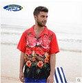 Camisa Masculino 2015 hombres famosa marca Hawaiian Beach Camisa de hombre de manga corta ocasional de impresión más el tamaño de Camisa de algodón Tops J59