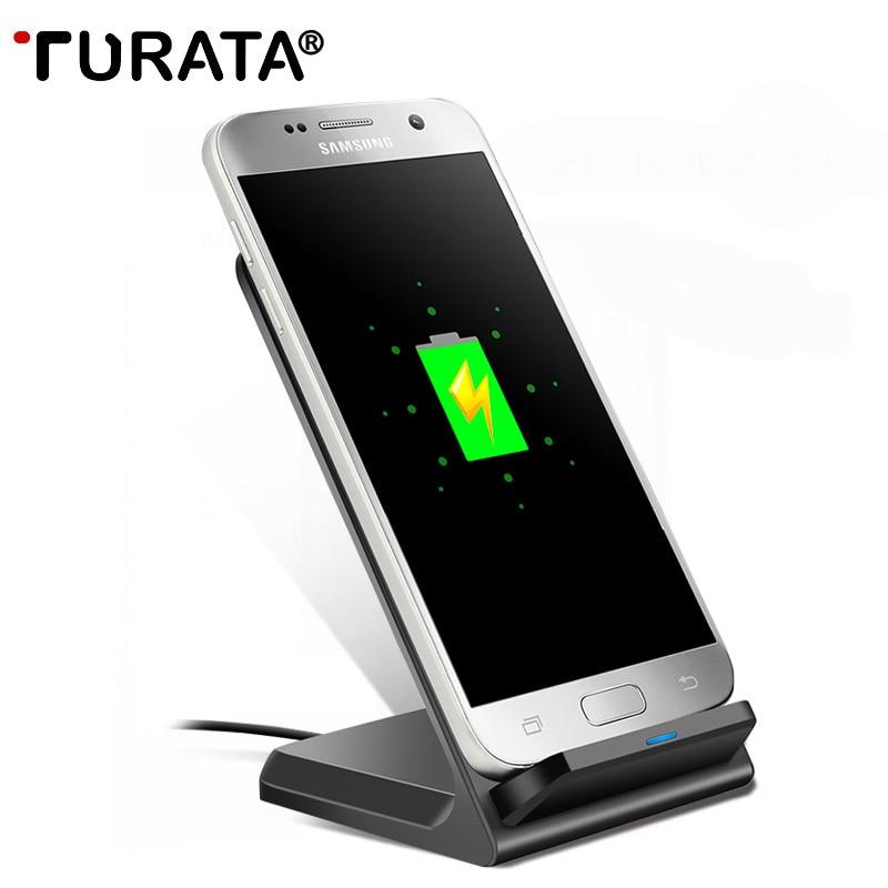 imágenes para TURATA Soporte QI Inalámbrica Cargador de Carga Rápida Cargador de Teléfono Inalámbrico para Samsung Galaxy S6 S7 Borde Más Nota 5 Qi a habilitar dispositivo