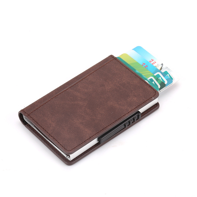 Wholesale Pu Leather Card Id Holders Women Credit Holder Design Mini Wallet Safe Aluminum Purse Case