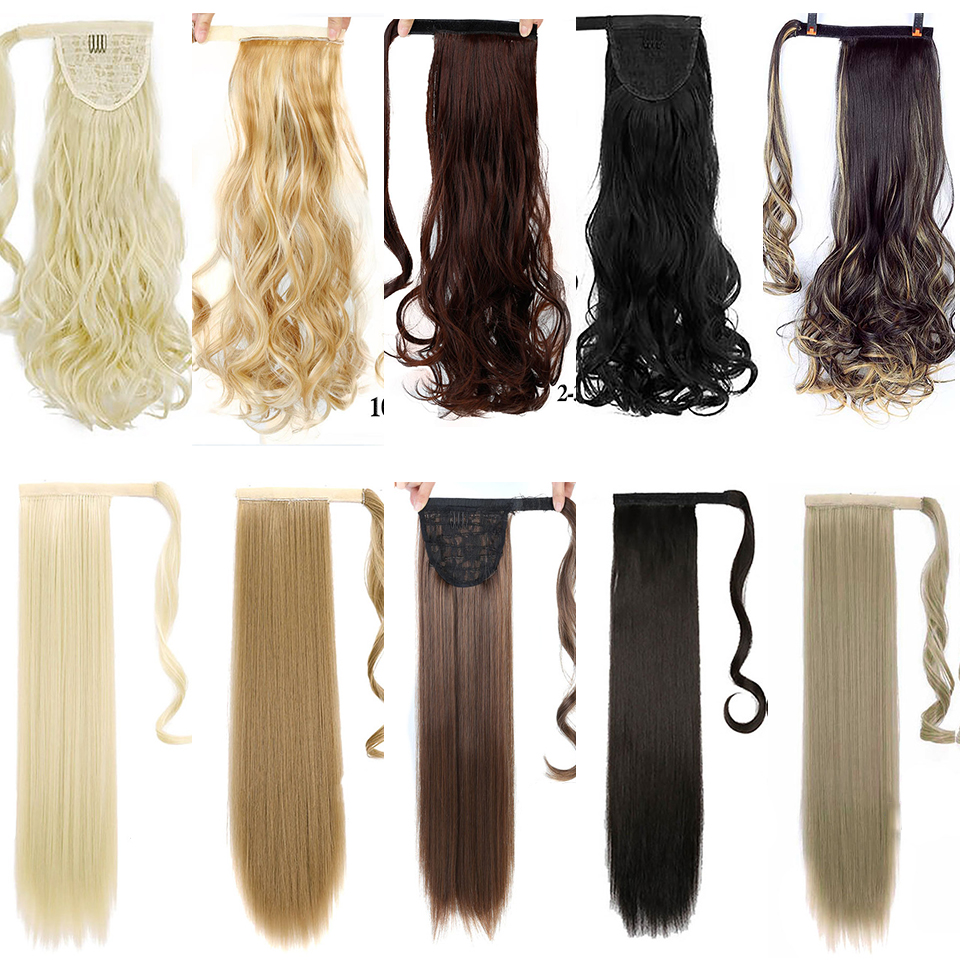 WTB Long Curly Hair Straight Hair Ponytail Wig Heat-resistant Synthetic Hair Tail Clip Long Ponytail Clip Hair Extension