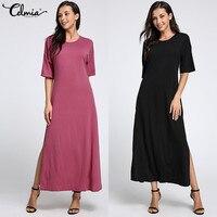 Summer Dress 2018 Womens Short Sleeve Casual Loose Solid Dress Beach Maxi Dresses Split Dress Curved
