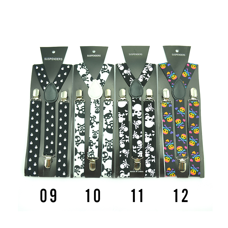New Design 25 Colors Skull Braces For Women Men Unisex Clip-on Braces Elastic Slim Suspender Y-back Suspenders Wholesale &Retail
