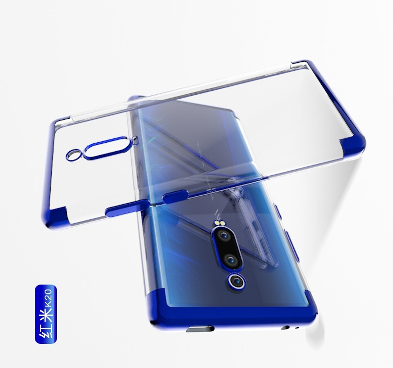 100pcs lot free shipping Luxur Clear Electroplate Laser Frame TPU Soft Case For Xiaomi Mi 9T