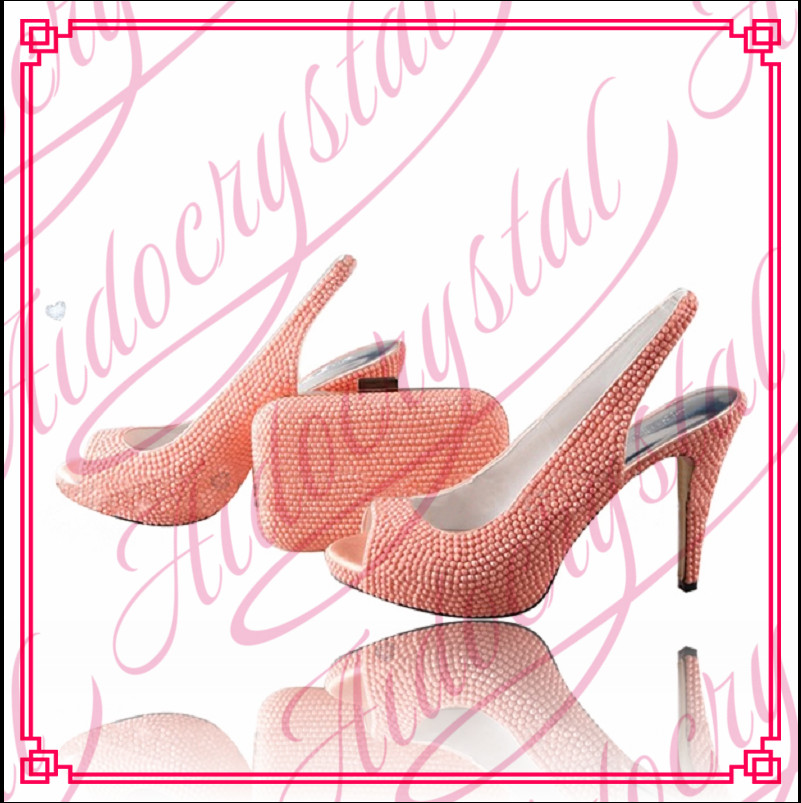 Aidocrystal african shoe and bag set with pink crystal With Peep toe Italian matching shoes and bags set for wedding women dress african wedding shoes and bag sets women pumps decorated with diamonds italian matching shoe and bag mm1014