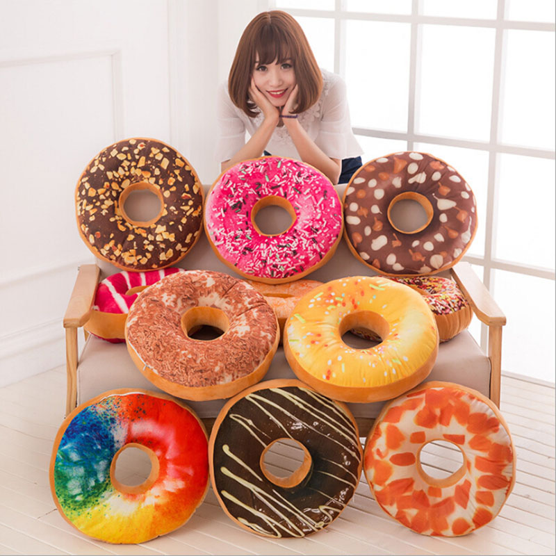 Colorful and Soft Plush Donut Sofa Seat Chair Cushion Decor Pillow Sweet Chocolates Car Mats Office Nap Tool For Adults and Kids