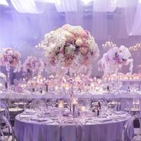 Artificial 36cm Flower Ball Simulation Rose Hydrangea Hemisphere Wedding Desktop Decoration Flores Roman Column Decoration