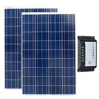 Solar Set 200w Solar Panel 12v 100w 2Pcs Solar Charge Controller 12v/24v 10A Solar Battery Charger Motorhome Caravan Car Camp